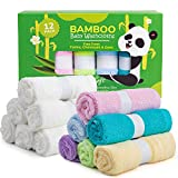 Spring Rose 12 Bamboo Baby Washcloths - Natural, Organic Facial Towel for Adults