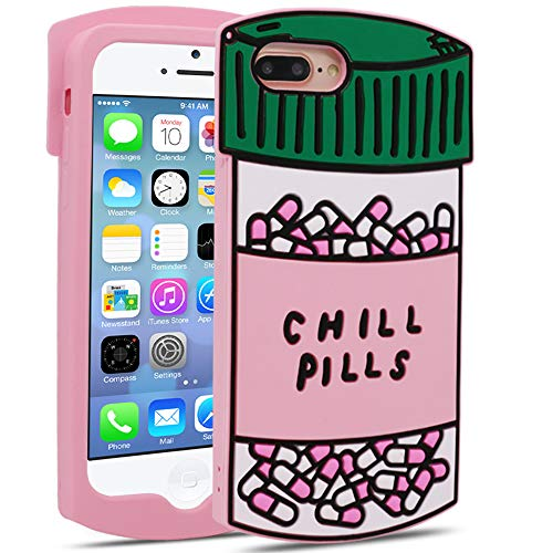 for iPhone 7 Plus/iPhone 8 Plus Case Chill Pills (5.5 inches), 3D Cute Cartoon Charactor Funny Chill Pills Soft Silicone Rubber Phone Cover Case for iPhone 7 Plus / 8 Plus for Girls Boys Teens Kids