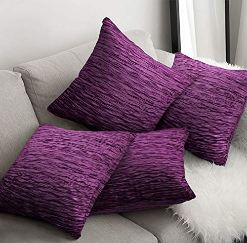 4 Piece Set Cushion Cover plus Inner Pads Decorative Pillowcases for Sofa Couch, Bedroom accessories - Sale Price, 43cm x 43cm or 56cm x 56cm (17' x 17' or 22' x 22') (Freya Aubergine, Small 43 x 43)