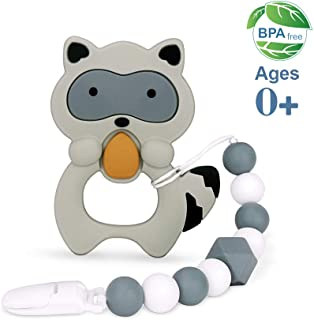 moopok Baby Teething Toys, Teething Pain Relief, Silicone Teether with Pacifier Clip Natural BPA Free Raccoon for Freezer - Best Newborn Shower Gifts for Trendy Boy or Girl (Black)