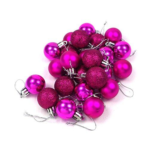 kleine Minni Dekokugeln Weihnachten Weihnachtskugeln Kugeln matt glänzend glitzernd 24 Stück 3,3cm Beere violett pink