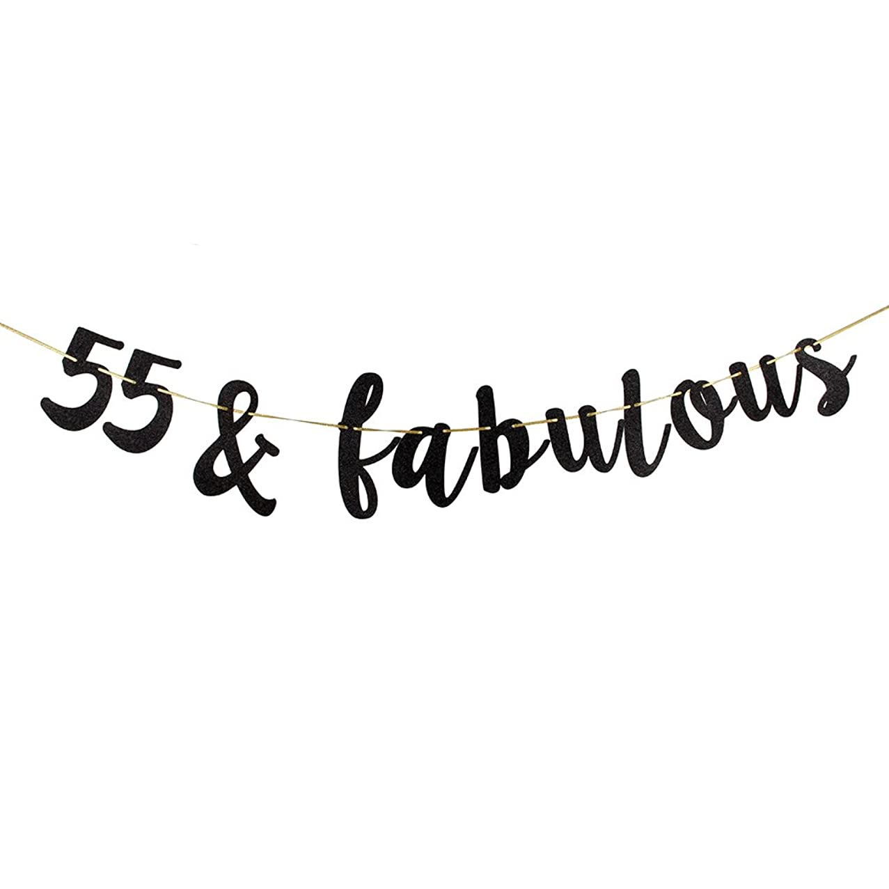 55 & Fabulous Banner, Black Glitter 55th Birthday Party Decoration Sign