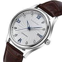 mastop Watch Theマスターシリーズレザーバンドダイヤモンド象嵌カレンダークォーツ腕時計メンズ腕時計ブラウンシルバー