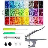 Libershine 360 Set T5 Kunststoffknöpfe, Snaps Zange, 24 Farben T5 Druckknöpfe für Kleidung, Kinderkleidung, Lätzchen, Windeln, Wollstoffe
