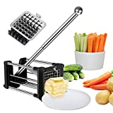 French Fries Cutter Fry Maker Press Stainless Steel Potato Slicer with 2 Blades(1/2'& 3/8') Great for Potatoes Carrots Cucumbers