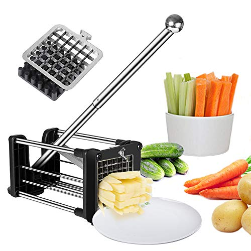 French Fry Cutter Potato Chipper with 2 Interchangeable Heavy Duty Stainless Steel Blades and Extended Handle Round Bottom Force Sucker Vegetable Slice Chipper