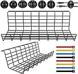 Magicfly - Confezione da 2 vassoi per cavi da scrivania, per organizzare con 3 supporti per cavi e 4 fascette per cavi, in metallo, per ufficio, casa, nero