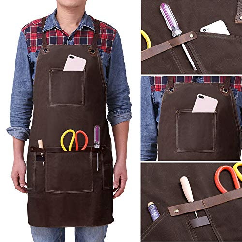 Leather Welding Apron for Men, Brown, 4 Pockets, 24in x 68in x 29in (The Lenght of Up Down and High), with Waxed Canvas Good Waterproof Effect steampunk buy now online