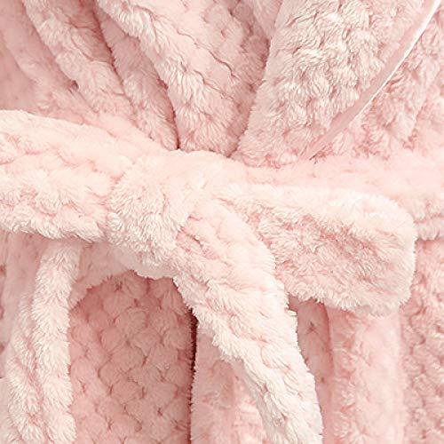 YSKDM Mujer Extralarga Tallas Grandes Suave como la Bata de baño de Seda Invierno Grueso cálido Franela Albornoz Kimono Bata Novia Dama de Honor, Hombres Rosa, XL