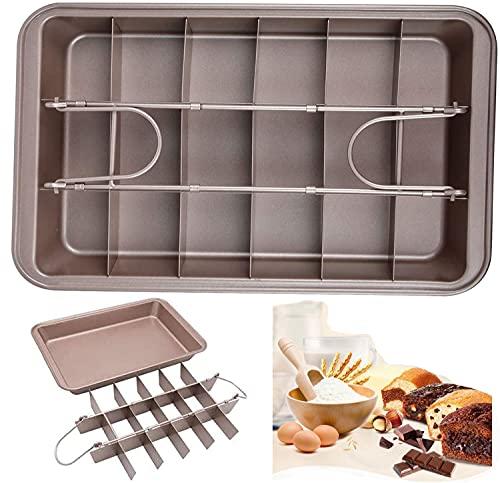 Old Tjikko Brownie Backform,Brownieform,Kuchenform Brownie mit Trennwänden und Hebeboden Eckiges Kuchenblech Antihaftbeschichtete Haltbarer Kohlenstoffstahl