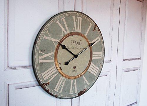 Landhaus Wanduhr Paris Uhr im french Shabby Chic Stil, XXL Durchmesser antique