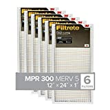 Filtrete 12x24x1, AC Furnace Air Filter, MPR 300, Clean Living Basic Dust, 6-Pack (exact dimensions 11.69 x 23.69 x 0.81)