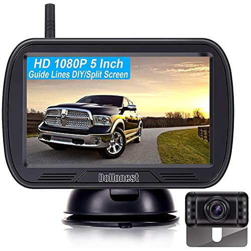 DoHonest V25 HD 1080P Digital Wireless Backup Camera System 5 Inch TFT Monitor for Trucks,Cars,SUVs,Pickups,Vans,Campers Front/Rear View Camera Super Night Vision Waterproof Easy Installation