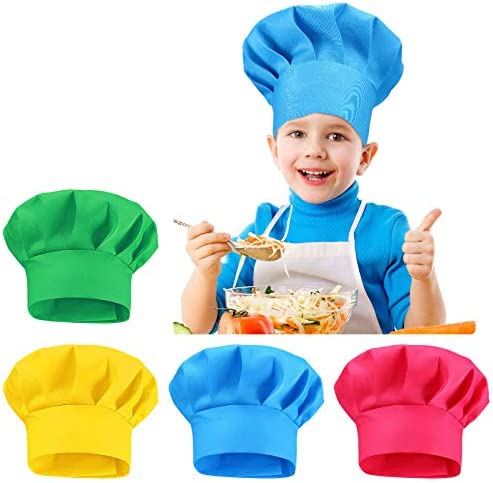 4 Colors Adjustable Chef Hat for Kids Adjustable Chef Toques Kitchen Chef Caps for Children product image