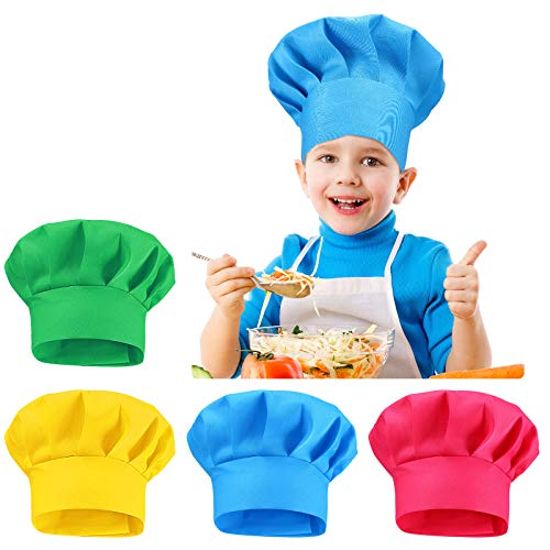 2-5세 연령의 베이커 셰프 캡을 요리하는 4개의 PCS 조정 가능한 키즈 셰프 모자 셰프 토크