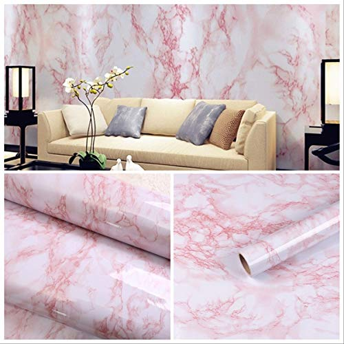 17.7'x78.7' Self-Adhesive White/Pink Marble Contact Paper Removable Wall Contact Paper Decor Decals Decoration Textured Panel Table Drawer Shelf Wall Crafts drawer contact paper wall paper decorations