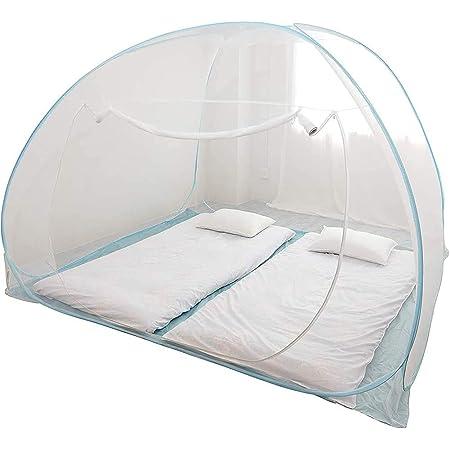 蚊帳 大型 底付き ワンタッチ 充電ケーブルホール付 かや (W240×D220×H170cm) モスキートネット 虫除け 虫よけ 折りたたみ式