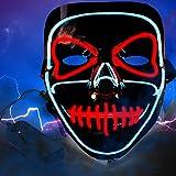 Lictin Halloween Máscara LED- Máscara Disfraz Luminosa para Navidad Halloween Cosplay Grimace Festival Fiesta Show, Funciona con Baterías (No Incluidas)