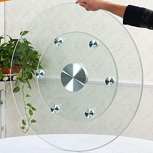Round Turntable Tray Tempered Glass Lazy Susan Rotating Serving Plate for Dining Table Silent Bearing Ø60cm/24inch