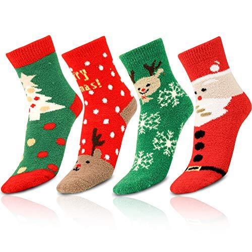 Qpout 4 Paare Damen Herren Weihnachten Warme Socken, Kuschelige Winter Warme Weihnachtssocken Schneeflocke Weihnachtenmann Weihnachtsbaum Socken für Weihnachten Mitgebsel Geschenk Dekoration