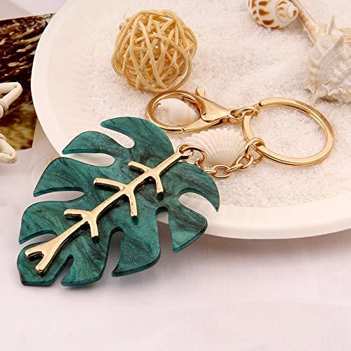beizi Llavero de metal con forma de follaje verde navideño, diseño de hoja verde y hermoso anillo para regalo para mujer (color: hoja)
