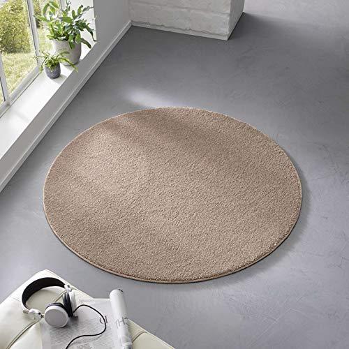 Taracarpet Teppich Kurzflor weicher Designer Uni Bodenbelag Madrid fürs Wohnzimmer, Kinderzimmer, Schlafzimmer und die Küche geeignet Taupe 120 cm rund
