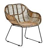 Casa Moro Sillón Madrid de ratán con reposabrazos, silla de mimbre natural tejida a mano, silla de cesta de calidad, silla de estilo vintage, silla de cocina, jardín, terraza, comedor   IDSN56