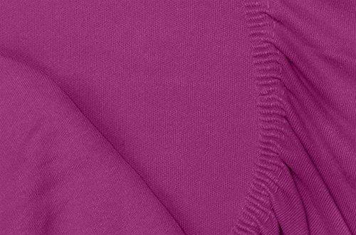 Double Jersey – Spannbettlaken 100% Baumwolle Jersey-Stretch bettlaken, Ultra Weich und Bügelfrei mit bis zu 30cm Stehghöhe, 160x200x30 Aubergine - 3