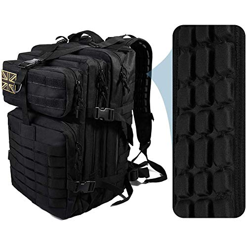 Auzkong Military Backpack Tactical Backpack 45L Army Assault Pack Molle Bag Heavy Duty Waterproof Backpack with Comfortable Air Cushion Shoulder Straps for Army, Trekking, Hunting, British Flag Black