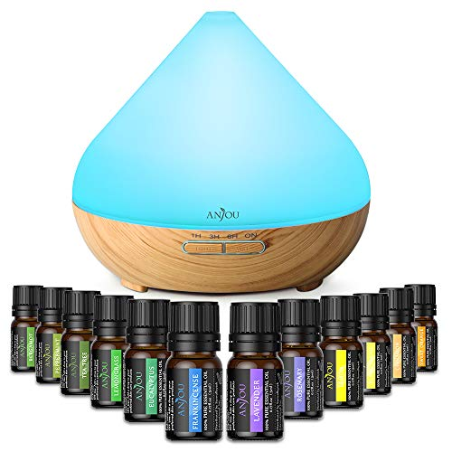 Essential Oil Diffuser Set, Anjou 300ml Ultrasonic Aromatherapy Diffuser with 12 Plant Upgrated Essential Oils Air Purifier Humidifiers 8 Modes Night Light for Bedroom Living Room Office