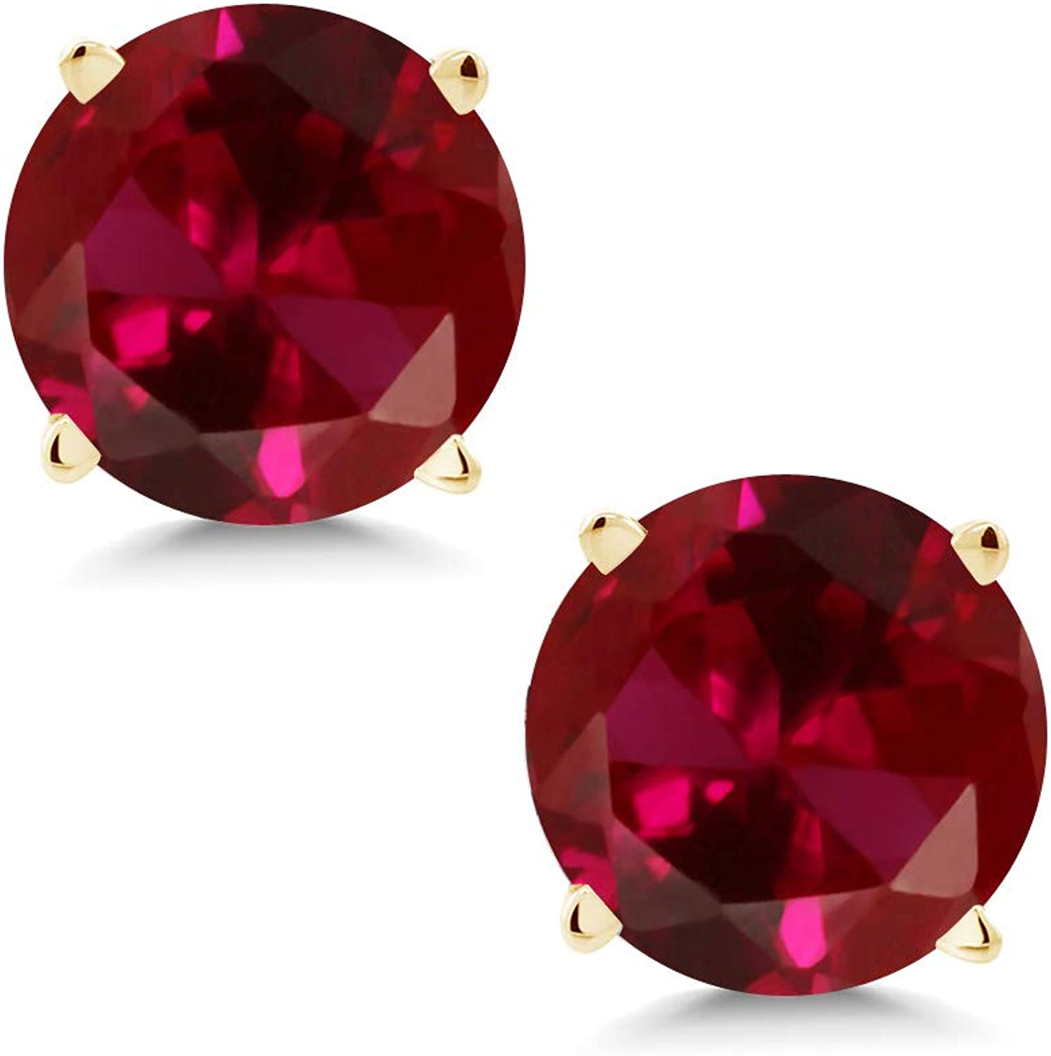 2.00 Ct Round 6mm Red Created Ruby 14K Yellow gold Stud Earrings