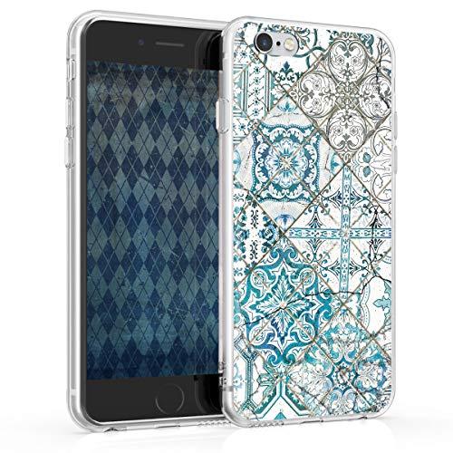 kwmobile Funda Compatible con Apple iPhone 6 / 6S - Carcasa de TPU y Azulejos Cuadrados en Azul/Gris/Blanco