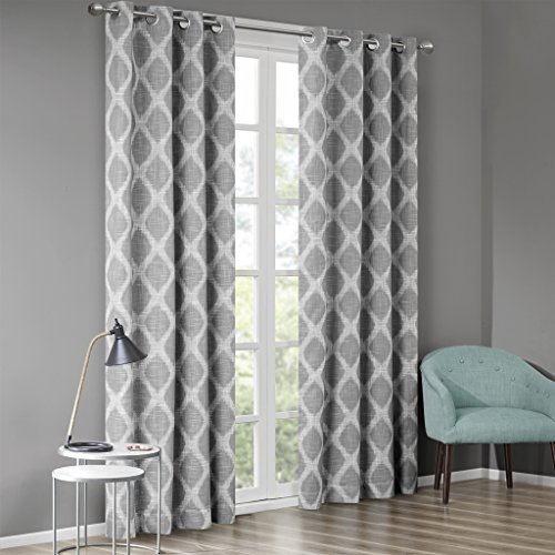 """SUNSMART Blakesly Blackout Curtains Patio Window, Ikat Print, Grommet Top Living Room Decor, Thermal Insulated Light Blocking Drape for Bedroom and Apartments, 50"""" x 84"""", Grey"""