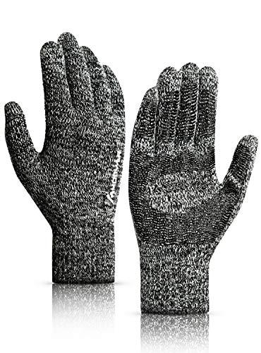 HONYAR Winter Gloves for Men, Women's Gloves Touch Screen - 360° Knit Texting Running Driving Gloves Women with Hand Warmer Liner - Anti-Slip Grip - Elastic Cuff - Black & White (M)