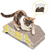 PETTOM 2 Piece Cat Scratching Board Lounger Set With Free Catnip, Reversible Cat Scratching Pads - Premium Cardboard Construction