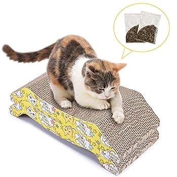 Grattoir Chat Carton (2 Pièces) Griffoir pour Chats Ondulé Planche à Gratter avec Herbe à chat