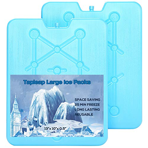 Tapleap Large Ice Packs for Coolers - Freezer Packs for Camping- Long Lasting Reusable Dry Ice Blocks, 13 x 10 x 0.5 inch, 25 Minute Quick Freeze - Set of 2