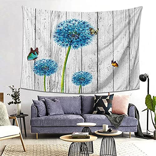 PATINISA Tapestry Wall Hanging,Rustic White Gray Wood Barn Wall Teal Blue Dandelion Flower Butterflies Vintage Wooden Board Prin,Tapestry Home Decoration for Bedroom Living Room 80x60in