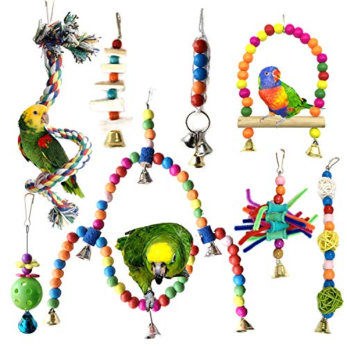 Giochi per uccelli pappagalli, PietyPet 8 Pezzi Colorato legno Altalene Scalette, Corda Perch, Trespoli e posatoi Giocattoli Gabbia per Piccoli e Medio uccelli Parrocchetti