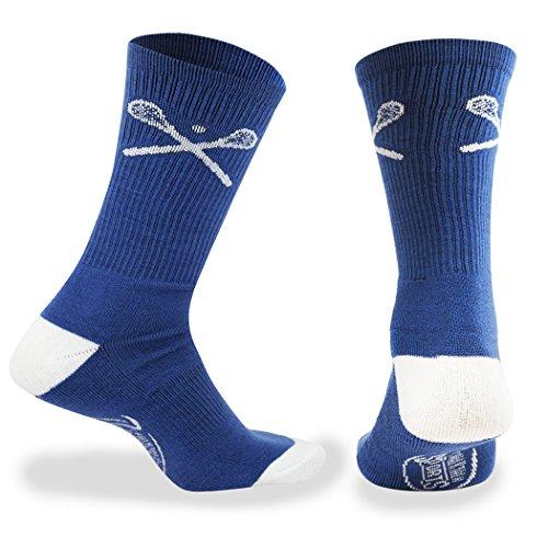 ChalkTalkSPORTS Athletic Half Cushioned Lacrosse Crew Socks   Mid Calf   Crossed LAX Sticks   Blue