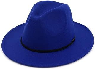 HAOHAO Comfortable Women Men Wool Fedora Hat with Cloche Ribbon Gentleman Elegant Lady Winter Autumn Wide Brim Jazz Church Godfather Sombrero Cap (Color : Blue, Size : 56-58)
