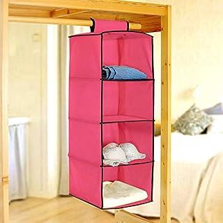 PINDIA Fancy & Foldable 4 Layer Pink with Black Border Hanging Storage Wardrobe ALMIRAH