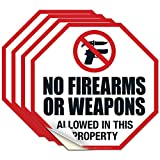 No Firearms Or Weapons Allowed in This Property Sign, (4 Pack) 5.5x5.5 Inches, 4 Mil Vinyl Decal Stickers UV Protected, Made in USA by Sigo Signs