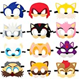 12Pcs Felt Masks for Sonic Themed Party Supplies Birthday Hedgehog...