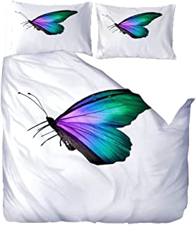 CZXBF Funda De Edredón 140X200Cm Mariposa Flor Blanca,3D Impresión Juego De Ropa De Cama con 1 Funda Nórdica Y 2X50X75 Cm Funda De Almohada