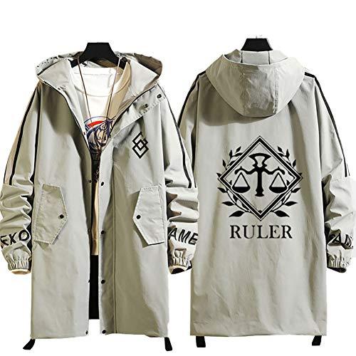 73HA73 Sweat Zippé à Capuche Long Manteaux pour Hommes Fate/Grand Order Ruler Jacket Confortable Sweat Veste Coat (No Shirt),Beige,2XL(180-185cm80kg)