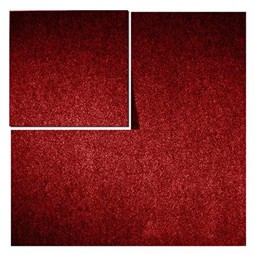 Teppichfliesen Can Can | selbstliegend | Rücken: Bitumen, rutschhemmend | Bodenbelag für Büro und Gewerbe | 50x50 cm | 5 Farben (Rot)