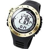 [ラドウェザー]デジタル時計 温度計 歩数計 100m 防水時計 (ゴールド通常)