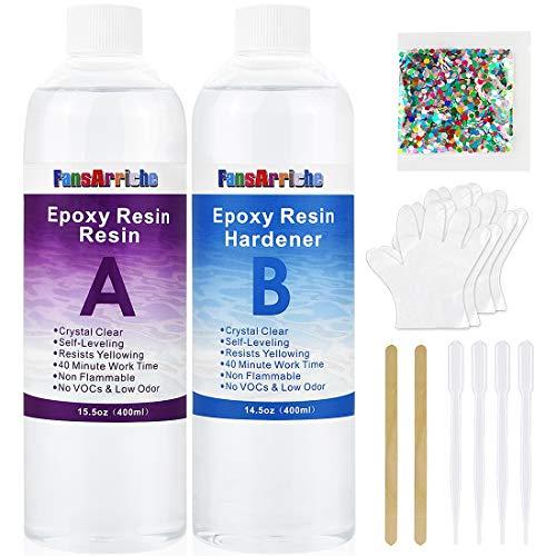 Résine époxy-800 ml / 850g résine époxy transparente pour le moulage, le revêtement, les dessus de table, la fabrication de bijoux et la décoration, l'art, l'artisanat, les tables de rivière