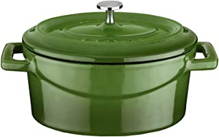 Enameled Cast Iron Mini Oval Cookware Casserole Dish with Lid & Handles - 14.25 oz - Green - Pre-Seasoned – Oven Safe Up t...